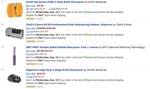 Amazon Knife Sharpener Results